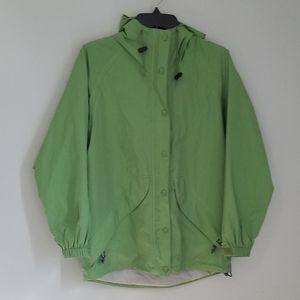 L.L.Bean Green Hooded Waterproof Parka Raincoat